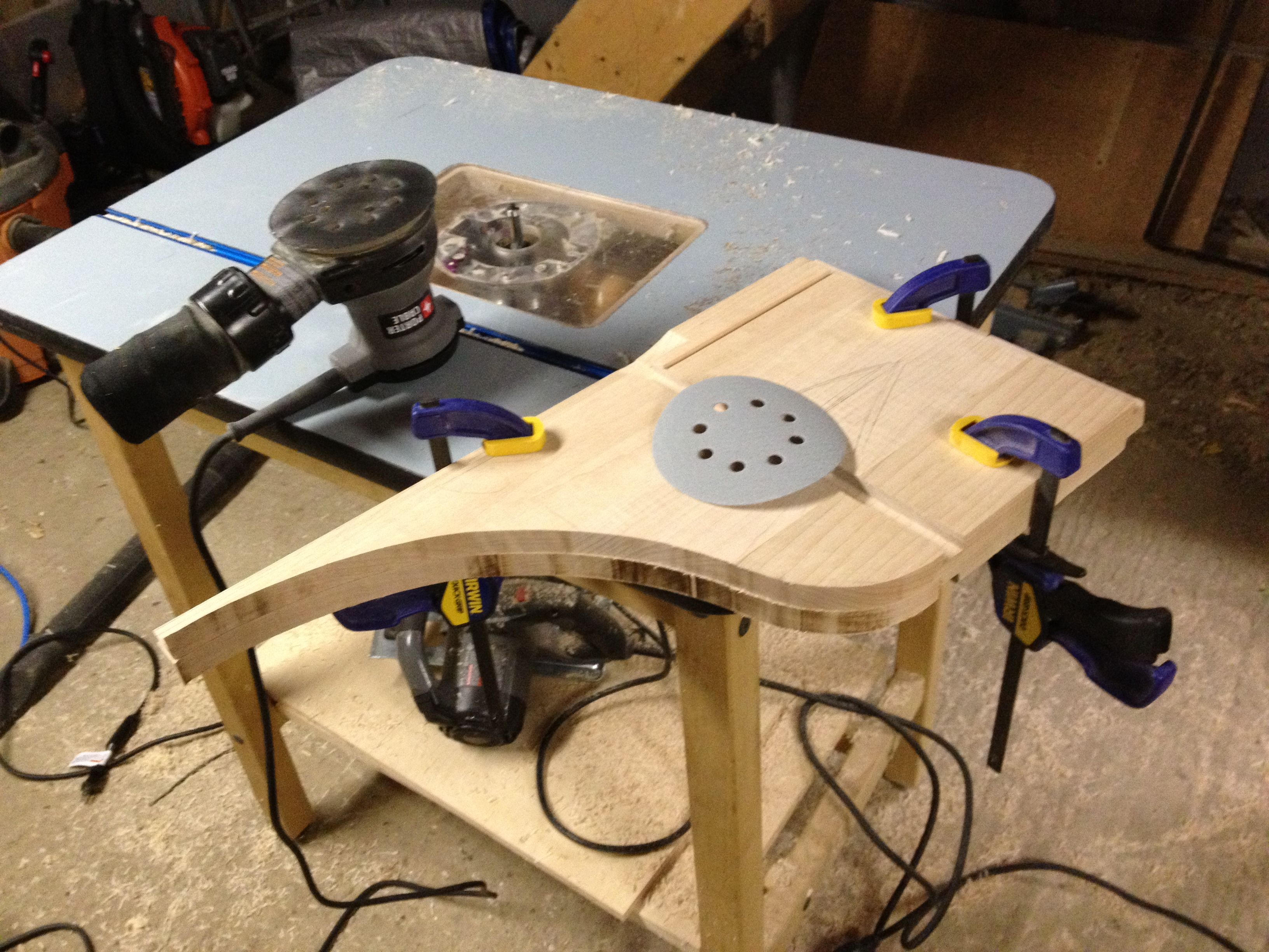 Clamped for sanding